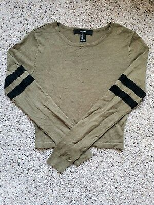 Preowned Forever 21 Small Long Sleeve Khaki Army Green Striped Crop Top Cute