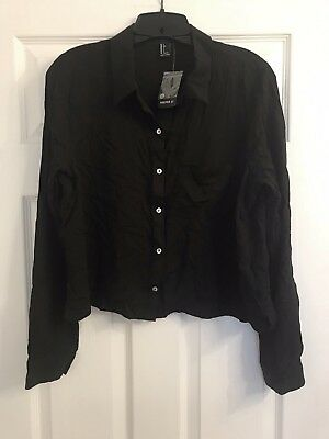 NWT Forever 21 Womens Button Down Blouse Career Crop Top Black Sz L Large