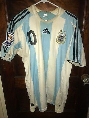 2010 Argentina Home Jersey Adidas Maradona 10 Large Men World Cup 2010 FIFA