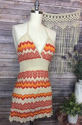 Forever 21 70s Orange Sleeve Knit Halter Top Blouse Cute Casual SZ M
