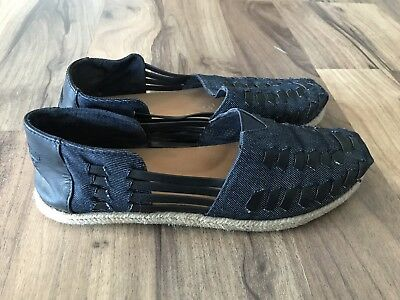 Toms Women Denim Blue Stitching Nautical Slip On Shoes Size 7-5