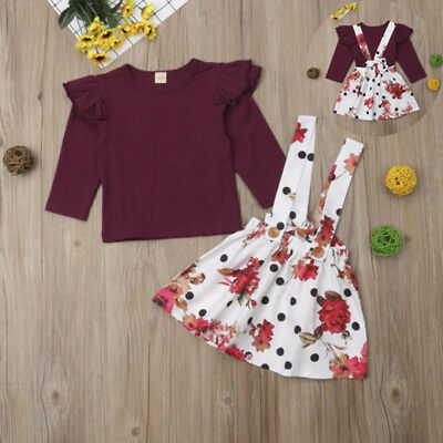 Thanksgiving Kids Baby Girl 2PCS Clothes Tops T-shirt-Tutu Skirt Dress Outfit US