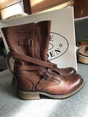 Steve Madden Brown Leather Banddit Boots New In Box Size 7-5