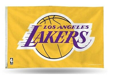 LOS ANGELES LAKERS FLAG 3X5 NBA L-A- LAKERS BANNER PURPLE AND GOLD AVAILABLE