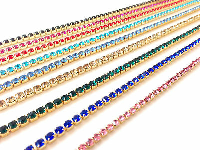 SS6 8 12 16 Crystal Rhinestone Close Chain Trim Sewing Craft DIY Crystal Chain