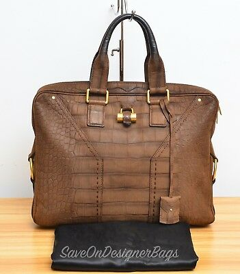 Yves Saint Laurent YSL Muse Attache Croc Style Leather Used Authentic w  Dustbag 7d8fe3cf6ac
