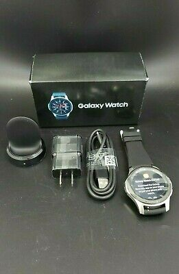 Samsung Galaxy Smart Watch 46mm Silver Case Onyx Black UNLOCKED SM-R805U