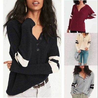 Womens Long Sleeve Knitted Loose Sweater Casual V-neck Knitwear Tops Blouse
