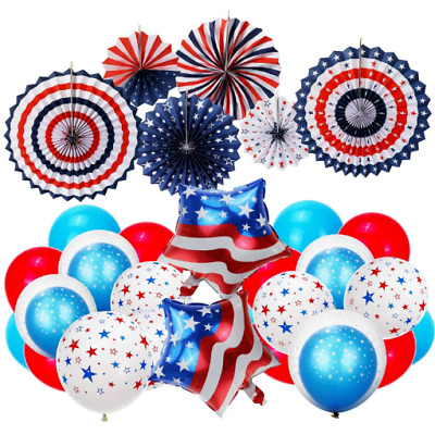 Fourth of July Patriotic Decorations Balloons Red White Blue Party Supplies
