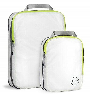 FinnTM Compression Travel Packing Cube 2 piece set White  Fluorescent Yellow