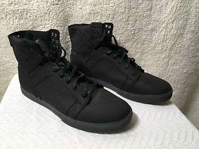 Supra Skytop Mens Black Canvas High Top Lace Up Sneakers Shoes All Black Mint 15