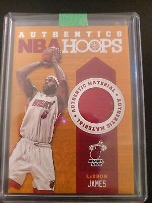 2013-14 Panini Hoops Authentics Lebron James Jersey Patch Relic Heat Lakers