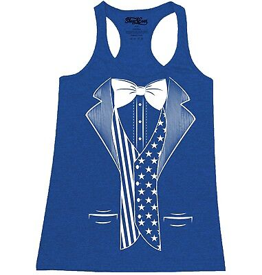 American Flag Tuxedo Costume Racerback Tank Top Fourth Of July USA Pride Tee