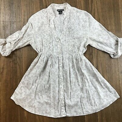 Wet Seal Womens Medium White Gray Floral Peasant Tunic Top Cinched Waist
