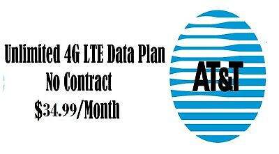 AT-T Unlimited 4G LTE Data Plan 29-99 34-99 next month Monthly Phone Hotspot