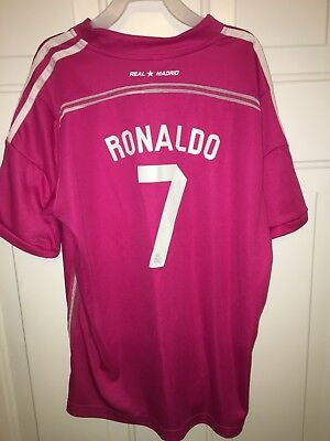 Real Madrid Cristiano Ronaldo Fly Emirates Pink Soccer Jersey Youth Large