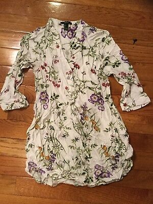 Adorable White Floral V Neck Collared Forever 21 Tunic Dress Top L