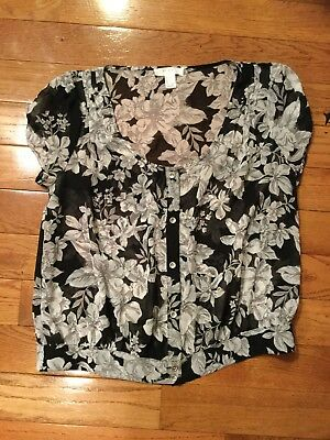 Adorable Thin Sheer Forever 21 Pastel Gray Floral Button Down Boxy Crop Top L