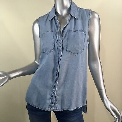 Forever 21 Women's Denim Blue Snap Button Down Sleeveless High Low Top Small