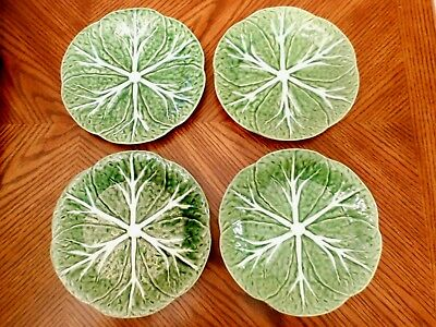 Set of 4 BORDALLO PINHEIRO Cabbage Green 7 58 Salad Plates Made in Portugal