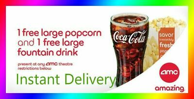 AMC Theater Large Popcorn - Large Drink  Super Fast E-Delivery - Exp 63020