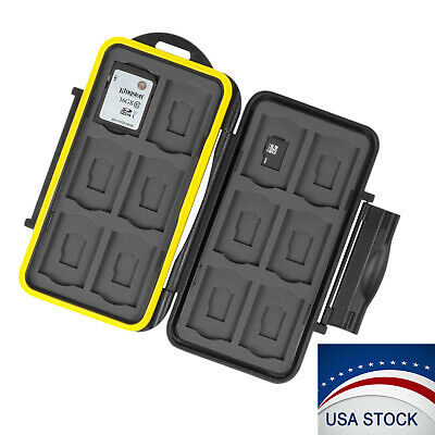 Memory Card Case Holder Storage Fits 12 SD-12 Micro SD TF Cards Water Resistant