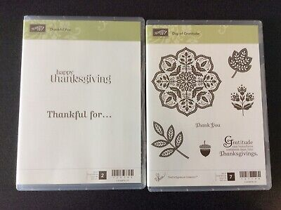 Stampin' Up Stamp Sets Lot of 2 NEW Thanksgiving theme FREE PRIORITY SHIP
