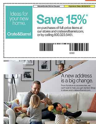 Crate and - Barrel 15 entire order 1coupon email delivery