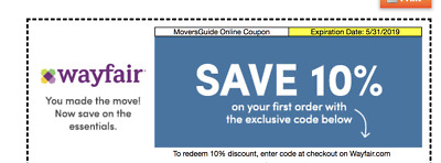WAYFAIR 10 OFF COUPON  EXP- 53119 -Valid on First Order Only