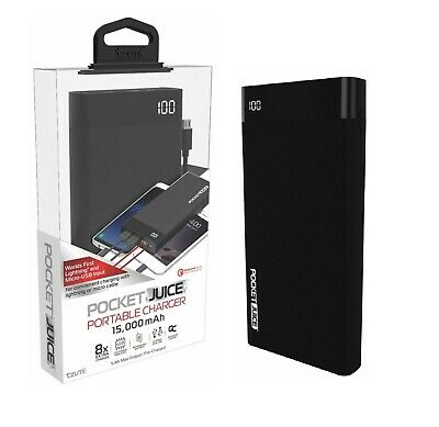 Tzumi Pocket Juice Power Bank 15000 mAh Quick Charge Fast Portable Charger 3-4A