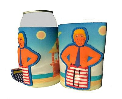 Donald Trump Novelty Can CoolerKoozie Flag Pole Red White Blue Flag Collector