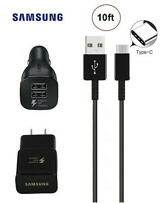 10 FT Type C Cable Samsung Galaxy Note 9 S8 Plus S10e OEM Fast Car Wall Charger
