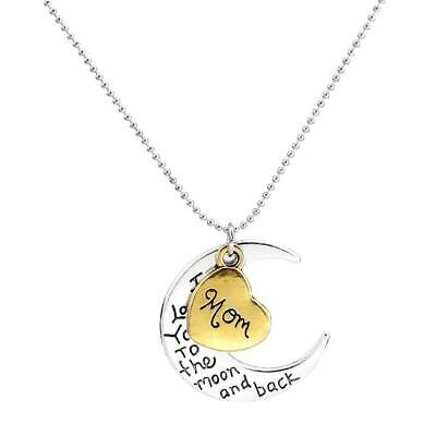 MOM Heart Moon Shaped Necklace Thanksgiving Mothers Day Jewelry Gift Pendant Ch