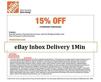 1XONE Home Depot 15 OFF Coupon Save up to 200-Instore ONLY SENT-FAST-1-min
