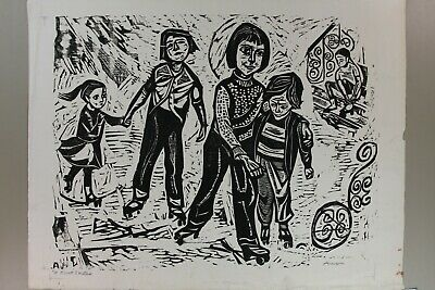 Irving Amen Signed Woodcut Print titled First Skates  AP Artists Proof