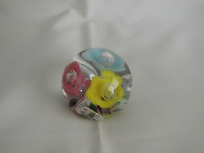 Glass Paperweight with Pink Blue and Yellow Flowers