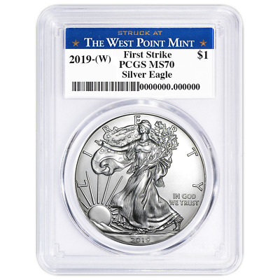 2019 W 1 American Silver Eagle PCGS MS70 First Strike West Point Label