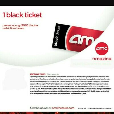 AMC Theater Black Movie Ticket Not-So-Fast E-Delivery  50 States No expiration