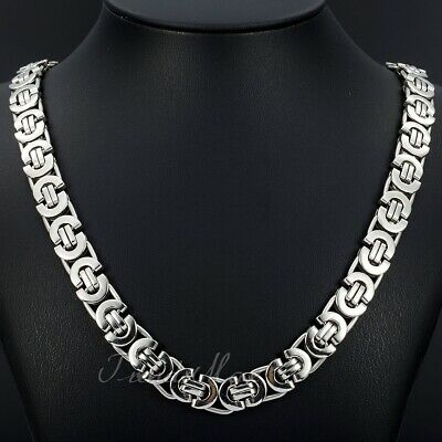 11mm Mens Silver Flat Byzantine Chain Necklace 316L Stainless Steel 18-36