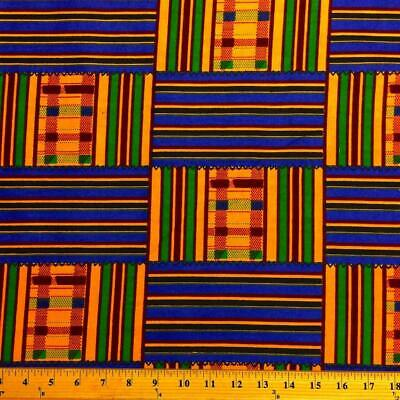 Kente African Print Fabric 100 Cotton 44 wide sold by the yard 19008-1