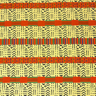 Kente African Print Fabric 100 Cotton 44 wide sold by the yard 19009-1