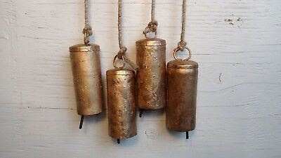 The PERFECT WIND CHIME BELL-4 Long BOHO Rustic Gold Bells for Doors Wreath 11