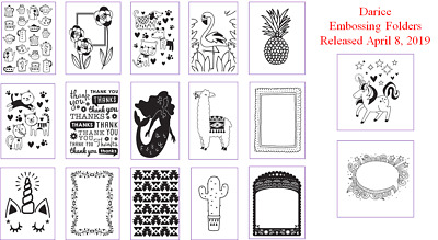 CLEARANCE ITEMS - Brand New April 2019 Darcice Embossing Folder Designs