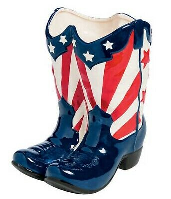 Patriotic Red White Blue Boot Planter Flower Holder 4th of July Statue Decor