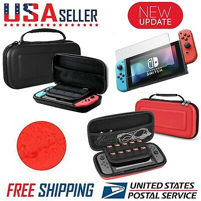 For Nintendo Switch Carrying Case Hard Portable Pouch Travel- Screen Protector🔴