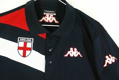 Vintage Kappa England World Cup Soccer Jersey Polo Shirt Mens Large Blue