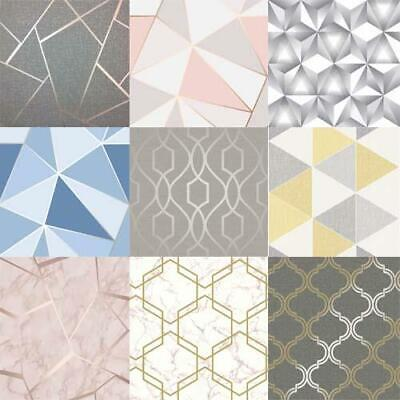 Geometric Wallpaper Metallic Smooth Textured Apex Triangles Trellis Diamonds