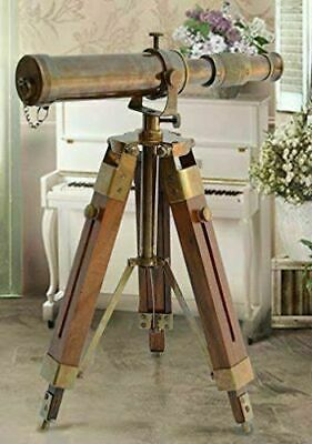Nautical Vintage Antique Decorative Solid Brass Telescope w Wooden Gift Tripod