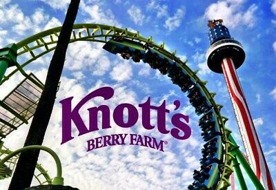 2 TWO Knotts Berry Farm Theme Park e-Tickets for Child or Adult Admission