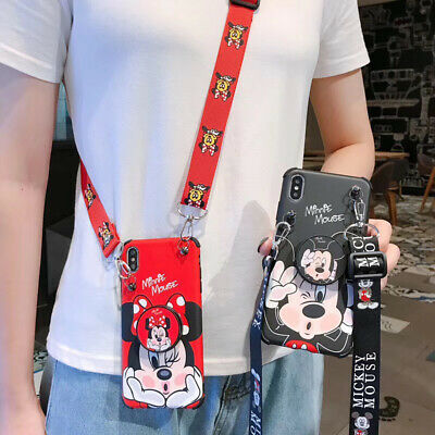 For iPhone 11 Pro Max XS 7 8- Cute Minnie Mickey Strap Case Cover - Stand Holder